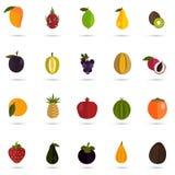 Satz von zwanzig Farbflachen Fruchtikonen Lizenzfreie Stockbilder