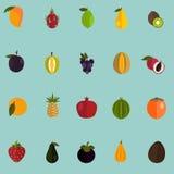 Satz von zwanzig Farbflachen Fruchtikonen Lizenzfreies Stockbild