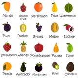 Satz von zwanzig Farbflachen Fruchtikonen Lizenzfreie Stockfotografie
