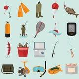 Satz von zwanzig Fischereifarbflachen Ikonen Stockbilder