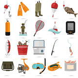 Satz von zwanzig Fischereifarbflachen Ikonen Lizenzfreies Stockbild