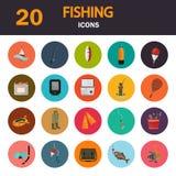 Satz von zwanzig Fischereifarbflachen Ikonen Lizenzfreie Stockbilder