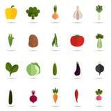 Satz von zwanzig flachen Ikonen des Gemüses Farb Stockfotografie