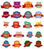 Satz von zwanzig Rabattaufklebern Bunte Ausweise mit rotem Band für Verkauf 50 Prozent heruntergesetzt Lizenzfreies Stockbild