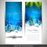 Satz von zwei blauen Weihnachtsfahnen lizenzfreie abbildung