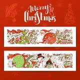 Satz von zwei horizontalen Fahnen der frohen Weihnachten Stockfotografie