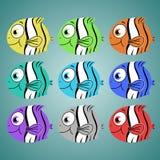 Satz von zwei lächelnden reizenden farbigen Fischen Lizenzfreie Stockfotos