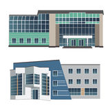 Satz von zwei modernen Gebäuden der Vektorillustration Lizenzfreies Stockfoto