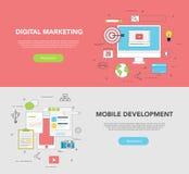 Satz von zwei Netz Fahnen für Grafikdesign-und Web-Entwicklungs-Digital-Marketing Stockbilder