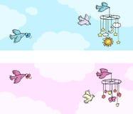Satz von zwei neugeborenen Themafahnen mit Fliegenvögeln Vektor Abbildung