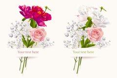 Satz von zwei Sommerblumensträußen Lizenzfreies Stockbild