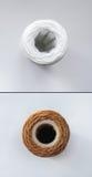 Satz von zwei Wasserfiltern Neue und benutzte Filter Ansicht von oben Stockfotos