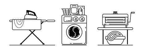 Dampfbügeleisen Und Korb Des Leinens Für Das Bügeln Auf Weiß