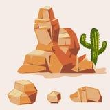 Satz Wüstenfelsen Isometrische flache Art 3D der Karikatur Satz verschiedene Flusssteine Lizenzfreies Stockbild