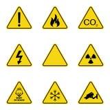 Satz Warnzeichen des Dreiecks Warnende roadsign Ikone Gefahr-Warnung-Aufmerksamkeitszeichen Gelber Hintergrund lizenzfreie abbildung