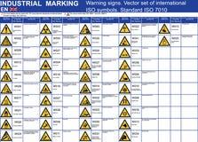 Satz Warnzeichen-Symbolikonen des Vektors Vorsichtsymbole Standardvektors ISO 7010 warnende Warnende Ikonensymbole der Vektorgrap lizenzfreie abbildung