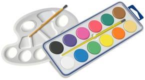 Satz Wasserfarben mit Bürste und Palette Stockfotos