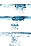 Satz Wasserlinien. Sauerstoff-Blasen. Gesundes Süßwasser lizenzfreies stockfoto