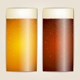 Satz Wassertropfen auf Bierhintergrund Stockfotografie