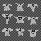 Satz weiße Geister Halloweens mit unterschiedlichem vektor abbildung