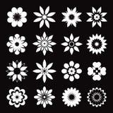 Satz weiße geometrische Blumen Lizenzfreie Stockfotos