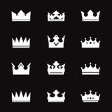 Satz weiße Kronen Stockfotografie