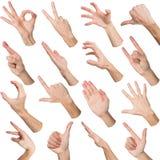 Satz weiße männliche Hände, die Symbole zeigen Stockfotos