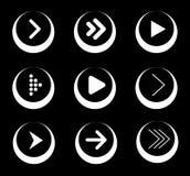 Satz weiße Pfeil-Ikonen in den Kreisen Lizenzfreie Stockfotografie