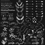 Satz weiße Pfeile, Bürsten, Fahnen und Elemente für Design stock abbildung
