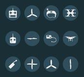 Satz weiße quadrocopters Ikonen Stockfoto