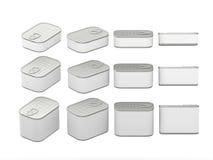 Satz weiße RechteckBlechdosen in den verschiedenen Größen, Beschneidungspfad Stockbild