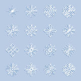 Satz weiße Schneeflocken, Illustration Stockbild