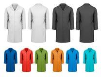 Satz weiße und schwarze und bunte Arbeitskleidung. stock abbildung
