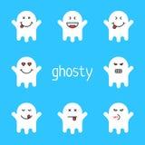 Satz weißen emoji Geistes auf blauem Hintergrund Lizenzfreies Stockfoto