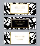 Satz weißen, Schwarzen und Goldfahnenschablonen Moderner Auszug Stockbild