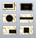 Satz weißen, Schwarzen und Goldvisitenkarteschablonen Moderne AB Stockbild