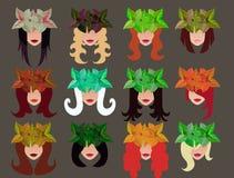 Satz weibliche Gesichter mit verschiedenen Frisuren und Kranz Lizenzfreie Stockfotos