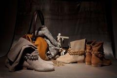 Satz weibliche Schuhe der Produkte decoreted mit atumn acsessuares und Geschenk boxe Stockfotos