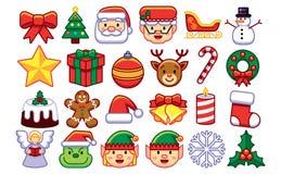 Satz Weihnachten Emojis lokalisiert auf weißem Hintergrund stock abbildung