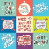 Satz Weihnachts- und des neuen Jahresaufkleber Stockfoto
