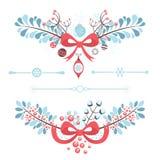 Satz Weihnachts- und des neuen Jahresdekorative Elemente Lizenzfreies Stockfoto