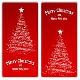 Satz Weihnachts- und des neuen Jahresfahnen Stockbilder