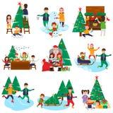 Satz Weihnachts- und des neuen Jahresfarbeillustration lizenzfreie abbildung