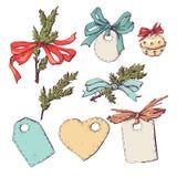 Satz Weihnachts- und des neuen Jahresgrafische Elemente, Feiertagssymbole Lizenzfreies Stockbild