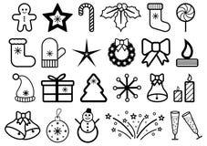 Satz Weihnachts- und des neuen Jahresikonen Lizenzfreie Stockbilder