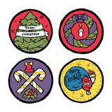 Satz Weihnachts- und des neuen Jahresrunde Embleme Stockfoto