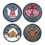 Satz Weihnachts- und des neuen Jahresrunde Embleme Lizenzfreies Stockfoto