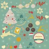 Satz Weihnachts- und Feiertagsverzierungen Lizenzfreie Stockfotografie