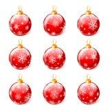 Satz Weihnachtsbälle lokalisiert auf weißem Hintergrundvektor Lizenzfreie Stockfotografie