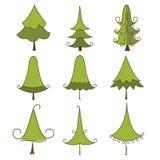 Satz Weihnachtsbäume Stockfotografie